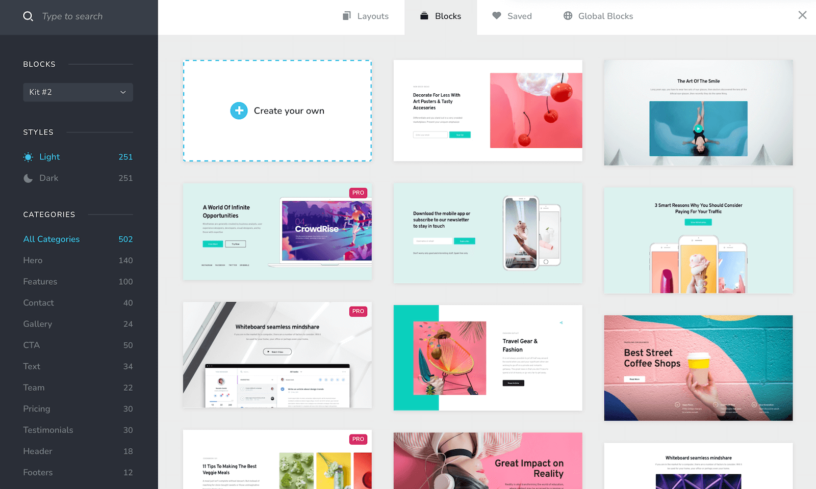 Brizy layouts and templates