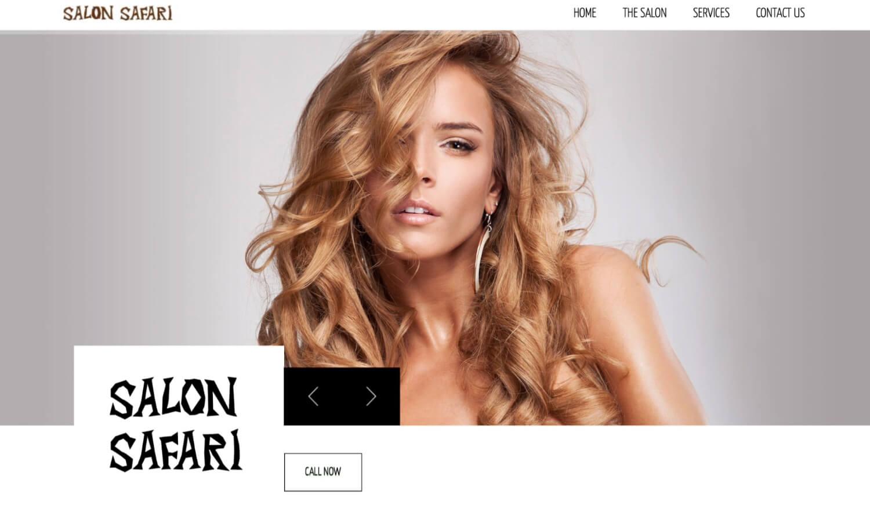 Beauty website examples Salon Safari