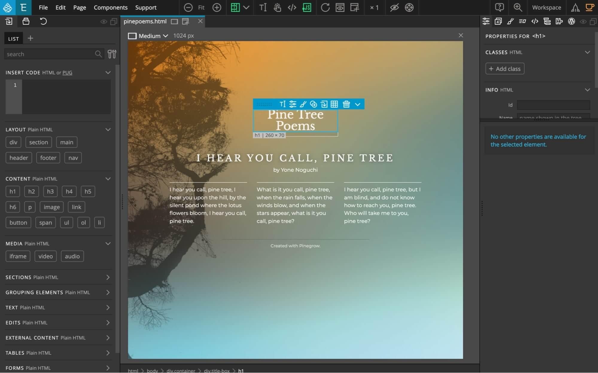 Pinegrow web editor interface