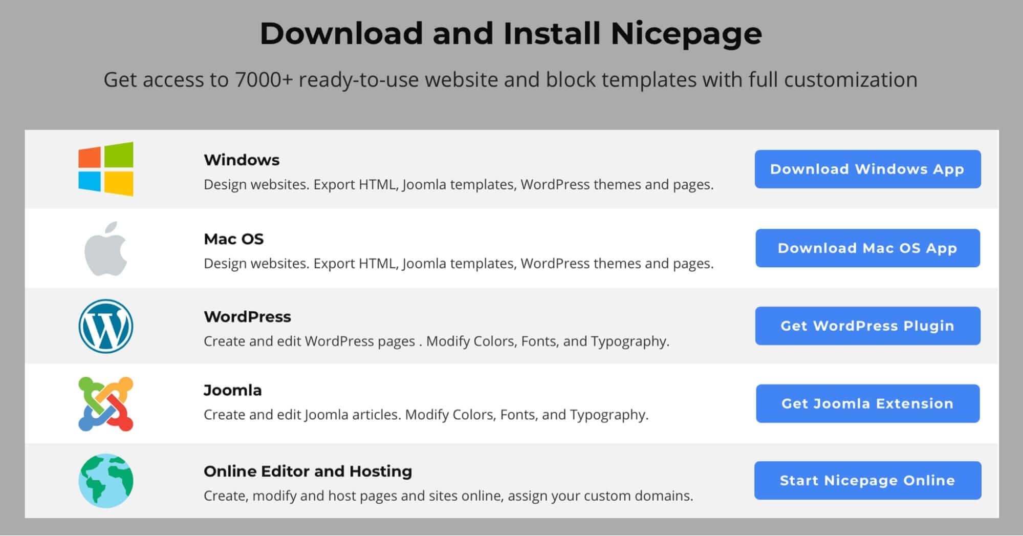Download Nicepage Builder