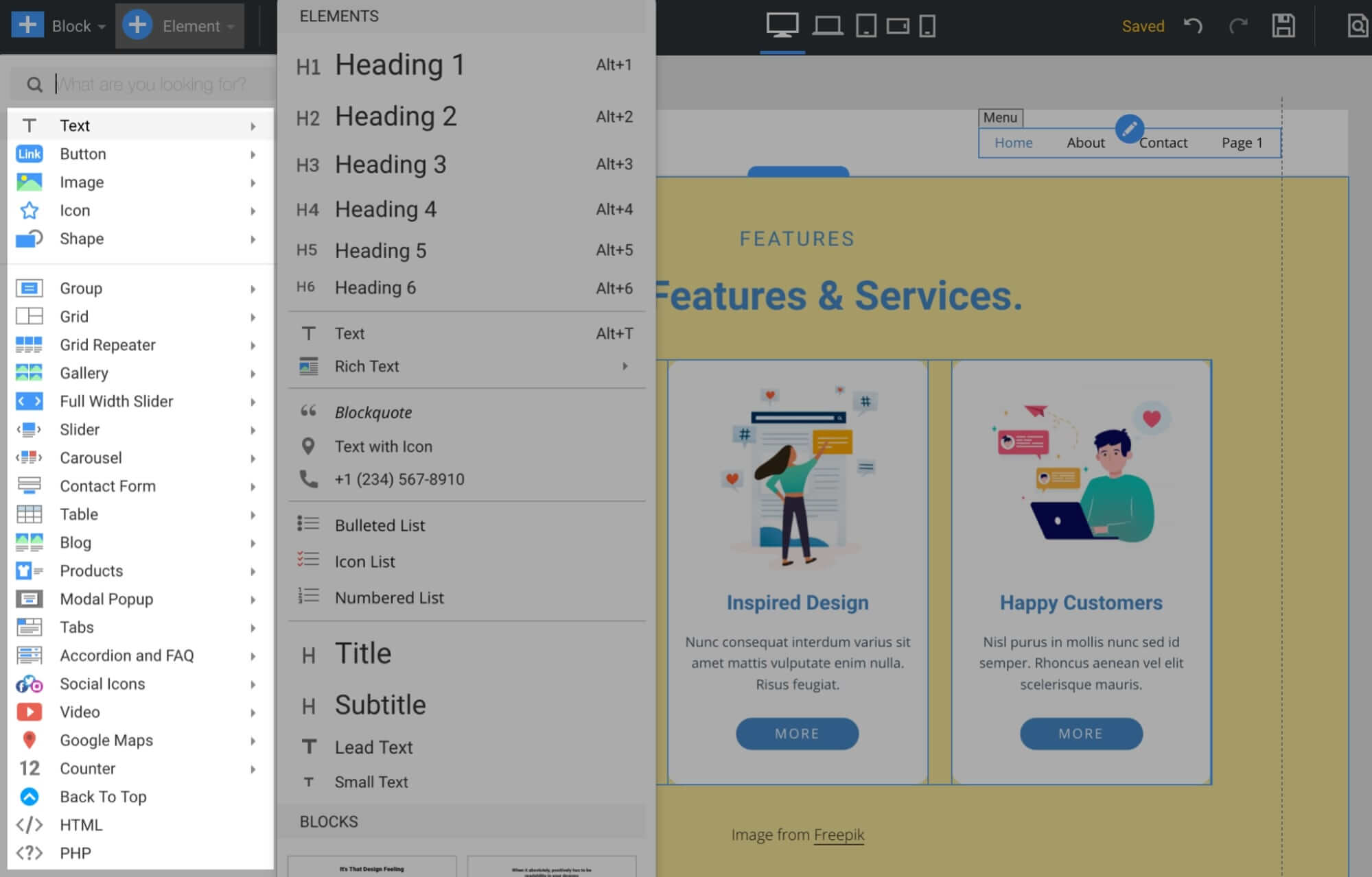 Nicepage Content Widgets List