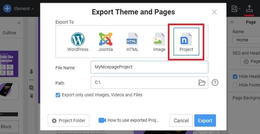 Nicepage Export options