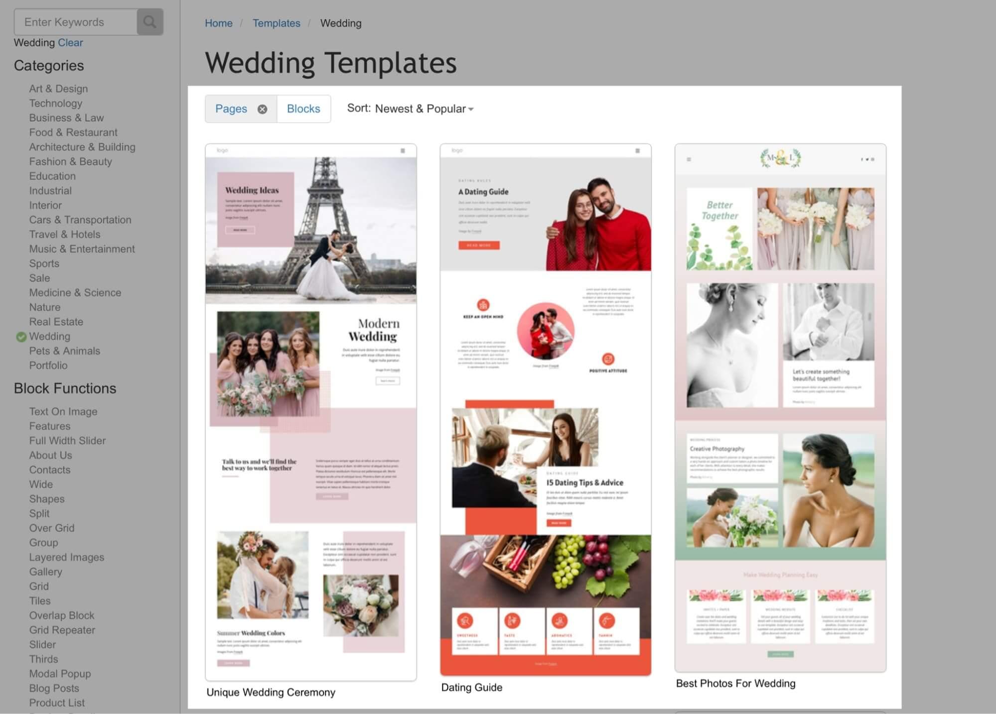 Nicepage Single Page Templates