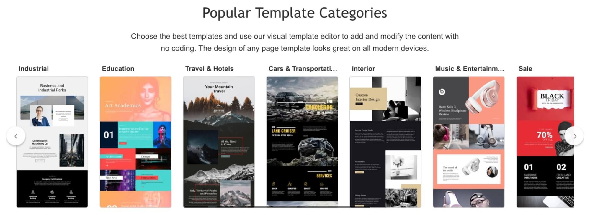 Template Categories of Nicepage