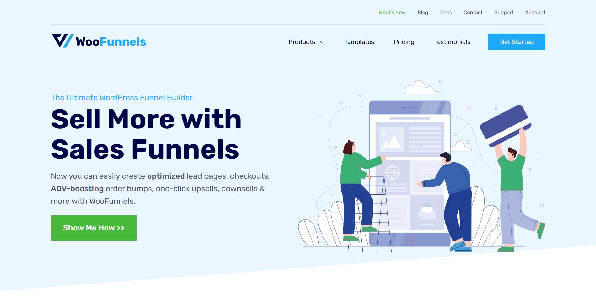 WooFunnels website using Oxygen Builder